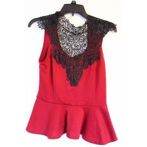 Red with black lace peplum top